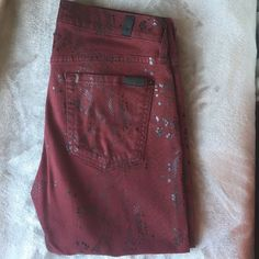 7 for all Mankind jeans 7 for all Mankind burgundy jeans with Python pattern detail. Skinny. Size 29 7 for all Mankind Jeans Skinny
