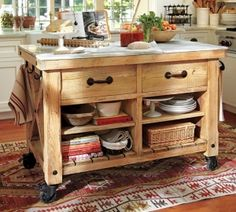 The Outstanding Freestanding Kitchen Island:Vintage Teak Wood Free Standing Kitchen Islands Movable Free Standing Kitchen Island by lissandra.villano