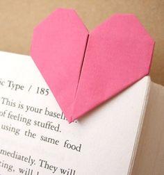 Origami heart page marker (paper folding) / Origami szívecskés könyvjelző (papírhajtogatás) / Mindy
