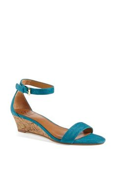 Tory Burch 'Savannah' Wedge Sandal available at #Nordstrom-probably too pricey and might be too dark of a turquoise?