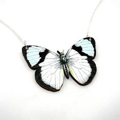 Your place to buy and sell all things handmade Insect Jewelry, Butterfly Jewelry, Butterfly Necklace, Butterfly Pendant, Butterfly Images, White Butterfly, Butterfly Illustration, Beautiful Butterflies, First Photo
