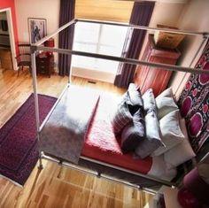 DIY Canopy Bed. Great idea! Love tapestry idea.