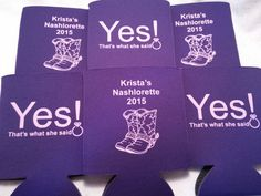 Country Bachelorette Party Koozies design by odysseycustomdesigns #bachelorettekoozies #customkoozies http://www.odysseycustomdesigns.com/ purple cooler with lilac ink..