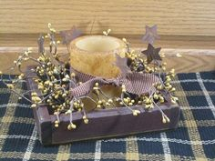 "Flat Burgundy Wood Box with 3 1/2"" Pillar Candle – Primitive Star Quilt Shop"