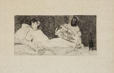 ÉDOUARD MANET OLYMPIA. Olympia Édouard Manet, 1867. Eau-forte et lavis d'aquatinte, premier état sur cinq, épreuve unique imprimée par l'artiste et retouchée par Bracquemond, 8,8 x 17,8 cm