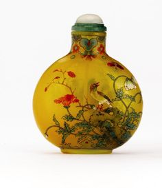 An Enamel on Yellow Glass Snuff Bottle, Qianlong mark and period, 1736 ...