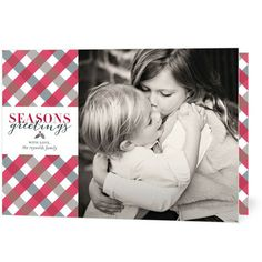 Add a bit of pattern to your holiday photo card with this 'Tartan Greetings' design in Red Lantern Red.