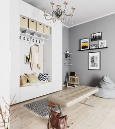 Entrance Hall interior design and visualization Hall Interior Design, Interior Design Inspiration, Small Entrance Halls, Ikea, 3d Architectural Visualization, Crochet Home Decor, Entryway, Gallery Wall, Furniture