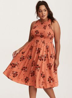 Multi-Color Floral Print Smocked Challis Midi Dress, FALLING COCO