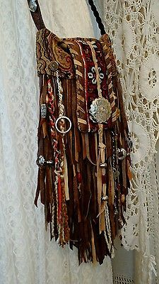 Handmade Brown Leather Fringe Bag Cross Body Purse Hippie Boho Hobo Gypsy tmyers