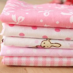 5Pcs Pink Dobby Pre Cut Charm Sewing Cloth Baby Clothes DIY Handmade Squares Quilt Cotton Cloth Making Fabrics Home Textiles