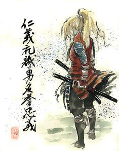 Blond Girl Samurai by MyCKs.deviantart.com on @deviantART