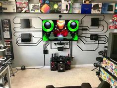Post with 3530 votes and 154896 views. Tagged with gaming, nintendo; Some radical Game Rooms for inspiration Gaming Room Setup, Desk Setup, Gaming Rooms, Ps4, Playstation, Master System, Dream Desk, Recording Studio Design, Video Game Rooms