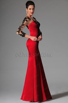 Rouge Dentelle Manches Longues Robe De Soireé(02146302) Evening Dresses, Prom Dresses, Formal Dresses, Motif Corset, Lace Tops, Lady In Red, Beautiful Dresses, Gowns, Long Sleeve