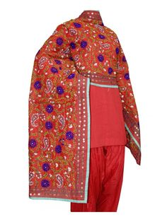 Chanderi Handicraft Dupatta Chanderi Dupatta - Handicraft  Lenght 2.35 Meter, Width 0.88 Meter  Handwash/Dry Clear  Cloth - Chanderi Shop Now : http://www.jankiphulkari.com/red-chanderi-handicraft-dupatta-jdc2721?___SID=U