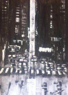 METRÓPOLE. autor:PENTEADO NETO técnica:Guache branco + Nanquim sobre papel 180kg/m2 Dimensões:420x297mm Data:13/12/2015