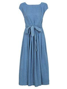 Buy Blue Open Back Bowknot Waist Midi Denim Skater Dress from abaday.com, FREE shipping Worldwide - Fashion Clothing, Latest Street Fashion At Abaday.com