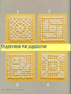 Crochet and arts: crochet motifs Crochet Square Patterns, Crochet Blocks, Crochet Borders, Crochet Stitches Patterns, Crochet Squares, Crochet Granny, Crochet Motif, Crochet Doilies, Crochet Flowers