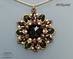 Black and gold round pendant Cabochon Rivoli Crystal Swarovski beads donuts of Bohemian beads Super-duo rubbles 24kt Gold plated
