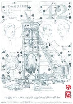 aus der Serie naturwissenschaftlicher Erkenntnisse - über die erste Atombombe 70 x 100 cm Bleistift 2011 1, Corona, Paper, Nuclear Bomb, Science