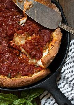 Cast Iron Skillet Deep Dish Pizza - a family favourite!