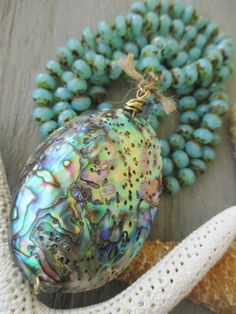 Abalone opal knotted necklace  Castaway  aqua by slashKnots, $140.00