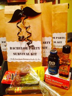 Bachelor Party Survival Kits for the groom and his guys: Slim Jim, pain relievers, cigar, mini whiskey, chocolate mustache lollipop, energy shot. :)