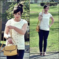 Lace, white, mustard (by Klaudia J.) http://lookbook.nu/look/3401035-Lace-white-mustard