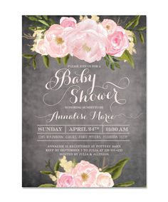 Emily: Baby Shower Invitation, Pink Roses & Peonies, Chalkboard, Shabby Chic