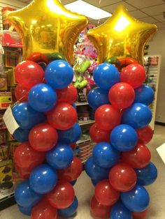 Fun balloon columns for a wonder woman party! Order today at Dollat Party! Wonder Woman Birthday, Wonder Woman Party, Birthday Woman, 40th Birthday Parties, Birthday Party Decorations, Birthday Crafts, Themed Parties, Balloon Decorations, 5th Birthday
