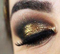 Tutorial - maquiagem de festa com dourado brilhante e preto » Pausa para FeminicesPausa para Feminices