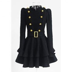 Vintage Stand Collar Buttons Embellished Long Sleeve Ruffles Women's Dress