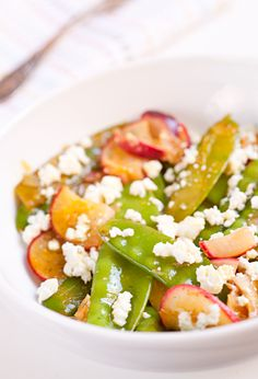Nothing says fresh spring dining like snowpea, peach and crumbly feta salad