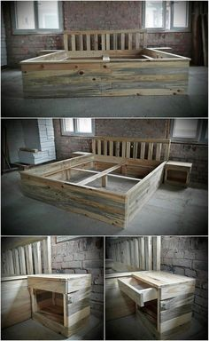 Recycled Wood Pallet Giant Bed Frame with Side Tables DIY Pallet Furniture Inspirations Wood Pallet Beds, Diy Pallet Furniture, Diy Pallet Projects, Wooden Pallets, Wood Furniture, Wood Projects, Pallet Ideas, Pallet Tables, Pallet Art