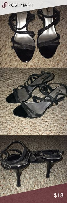 Sparkly black strap heels Only worn twice.  Heel is 2.2 inches. FIONI Clothing Shoes Heels