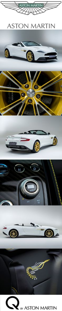 One of six unique cars to be built to mark Aston Martin Works' 60th anniversary in 2015, this bespoke Vanquish Volante is instantly identifiable with features such as its Anniversary Yellow side strakes and alloy wheels, and distinctive logo etched into the car's sill plates. Learn more: www.astonmartin.com/q #AstonMartin #Q #Bespoke