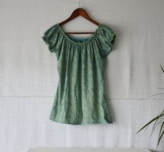 Turquoise blouse indigo dye boho clothing by EthicalLifeStore