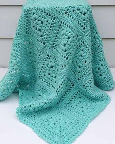 Baby Puff Square Afghan Crochet Pattern Original Design By Maggie Weldon Intermediate Skill Size: Approximately 42 square Materials: Light Worsted Weight Yarn: Baby Green (MC) 1500 yds g, Crochet Afghans, Afghan Crochet Patterns, Crochet Squares, Crochet Granny, Baby Blanket Crochet, Crochet Stitches, Crochet Hooks, Granny Squares, Crochet Blankets