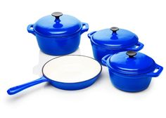Five Piece Cast Iron Enamel Cookware Pot Set (2 Pots with lid and 1 Fr – Restful Spaces