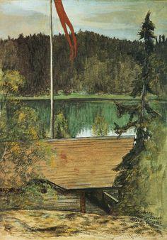 Title:Lasses villa Artist:Hugo Simberg Country of Origin:Finland Date of AD Tags:N/A Collaborative Art, World's Biggest, Country Of Origin, Art And Architecture, Landscape Art, Finland, Villa, Illustration, Artwork
