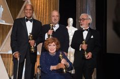The 6th Annual Governors Awards in The Ray Dolby Ballroom at Hollywood & Highland Center® in Hollywood, CA, on Saturday, November 8, 2014. Pictured (left to right): Jean Hersholt Humanitarian Award recipient Harry Belafonte, Honorary Award recipient Hayao Miyazaki, Honorary Award recipient Jean-Claude Carrière and Honorary Award recipient Maureen O'Hara