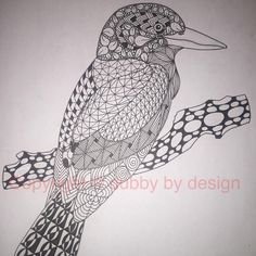 Kookaburra template from Ornation Creation.  If you see something you'd like a print of, or would like to commission me to do something different, don't hesitate to contact me for more info! #dubbybydesign #zentangle #zentangleinspiredart #benkwok #ornationcreation #inkdrawing #doodle #zendoodle
