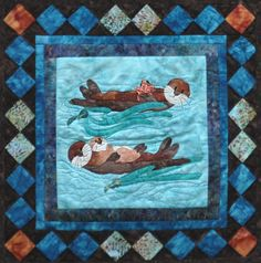 Sea Life Quilt Patterns | Sea Otter Family Wall Quilt Kit-Copper River, Hot Yotts