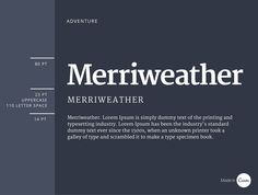 Merriweather was created specifically for web design and not favored as a print typeface. The combination of bold and regular style variants makes for easy reading and classic aesthetic.