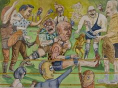 """Bart Johnson, Wrestlers, watercolor and ink on paper, 22"""" x 30"""", 2010"""