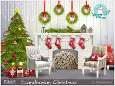 A set of furniture and decor for the living room or dining room in a Scandinavian style.  Found in TSR Category 'Sims 4 Living Room Sets'