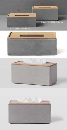 Handmade Concrete Tissue Box Office Desk Stationery Organizer Storage Box