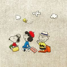 bon voyage ! * * #snoopy #peanuts #Schulz #LUCY #LucyVanPelt #CharlieBrown #woodstock #embroidery #handembroidery #スヌーピー #ピーナッツ #チャーリーブラウン #ルーシー #ウッドストック #刺繍