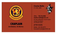 Pastor Mallie's new business card. While the black lettering is a bit tough to read on that background, it certainly is impressive.