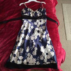 Blue And White Flower Print Dress